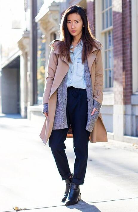 menswear-tomboy-classics-trench-coat-cardigan-boyfriend-cardigan-layers-chambray-shirts-cuffed-trousers-pants-ankle-boots-fa-2
