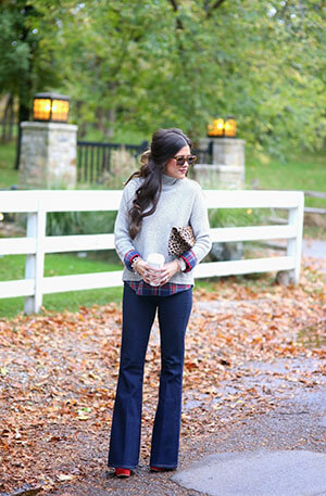 sweater with plaid underneath, flared jeans, fall outfit ideas 2014